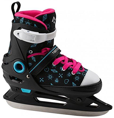 Tecnopro Kinder Alpha Soft Gril 2.0 Eishockeyschuhe, Schwarz/Türkis/Pink, 37