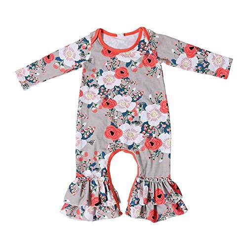 e80421175 58% OFF on Baby Girls One Piece Footed Flowers Cotton Pajamas ...
