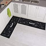 Carvapet 2 Piece Non-Slip Kitchen Mat Rubber Backing Doormat Runner Rug Set, Cozinha