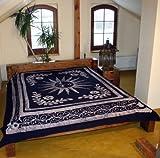 Guru-Shop Wandtuch, Batikbild Wandbehang, IndischeTagesdecke - Sonne/blau, Baumwolle, 250x200 cm, Bettüberwurf, Sofa Überwurf, Tie Dye, Handgearbeitet