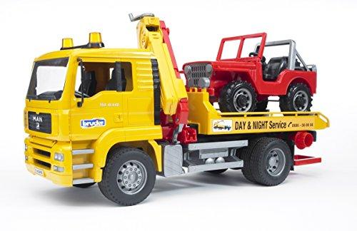 Bruder 02750 MAN TGA Abschlepp-LKW mit Geländewagen (ohne Light and Sound Modul)