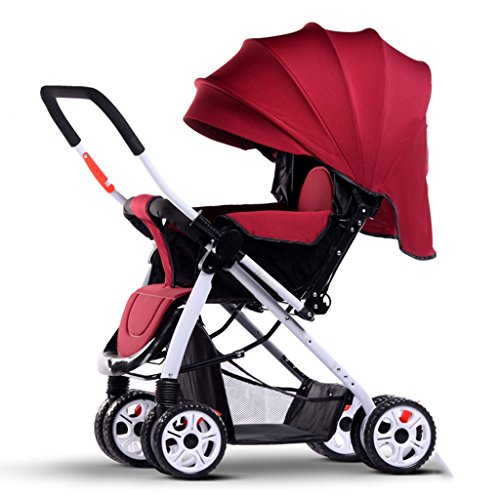 Standardkinderwagen SUBBYE Kinderwagen Spaziergänger können sitzen Lie Down Light Portable Fold Vier Jahreszeiten Universal Baby Kinderwagen Sommer Neugeborenen und Junge Kinder 0-3 Jahre alt Baby-Kinderwagen ( Farbe : Rot )