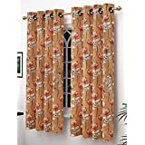 Story@Home Modern Polyester Floral Pattern Eyelet 2 Piece Printed Ringtop Window Curtain Set for Drawing Room, Bedroom and Hall - 5 Ft, Golden & Red
