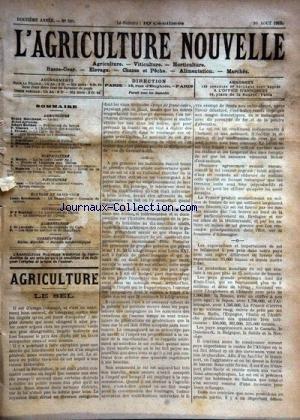 AGRICULTURE NOUVELLE (L') [No 591] du 16/08/1902 - AGRICULTURE PAR MARCHAND - BERTHOT - VIMEUX - TROUDE - SCHRIBAUX - MENARD HORTICULTURE PAR MOTTET - MAGNIEN - VITICULTURE PAR CANU - LA BASSE-COUR PAR BRECHEMIN - SYLVICULTURE PAR MARCHAL - ALIMENTATION PR DE LOVERDO par Collectif