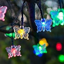 30 luci con LED multicolore a forma di farfalla con alimentazione ad energia solare di Lights4fun