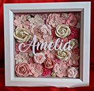 Handmade Floral Shadow Box Frame - Personalised 3D Flower Memory Box's in Standing Picture Frames - Customised