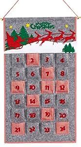 Heitmann Deco Adventskalender zum Aufhängen und selbst Befüllen - Filz-Adventskalender -  Weihnachts-Motiv - Rot, Grau