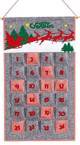HEITMANN DECO 90439 Calendrier de l'Avent en Feutre à remplir soi-même, Plastique, Rouge/Gris, 75 x 47 x 1,1 cm