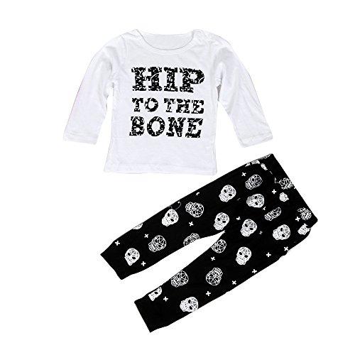 Ouneed® 3 - 36 mois Bebe Garcon 2pcs Cotton Ensemble Tops Shirt + Pantalon (12mois, Blanc)