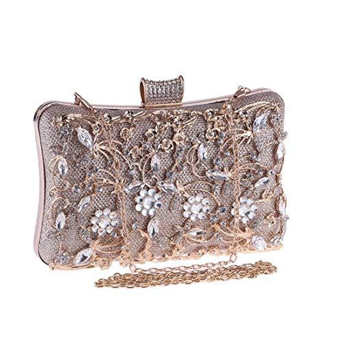 Xihou Damenhandtasche, Brieftasche Banketttasche Hohl Diamantbesetztes Nachtkleid Roter Teppich, 20 * 12 * 6 cm (Farbe: Gelb) Du verdienst es zu haben (Color : Yellow)