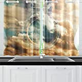 JOCHUAN Akustikgitarre Komposition Doppelbelichtung Musikkonzept Akustische Küchenvorhänge Fenster Vorhangebenen für Café, Bad, Wäscherei, Wohnzimmer Schlafzimmer 26 x 39 Zoll 2 Stück