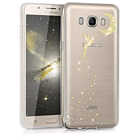 kwmobile Hülle für Samsung Galaxy J5 (2016) DUOS - TPU Silikon Backcover Case Handy Schutzhülle - Cover klar Fee Glitzer Design Gold