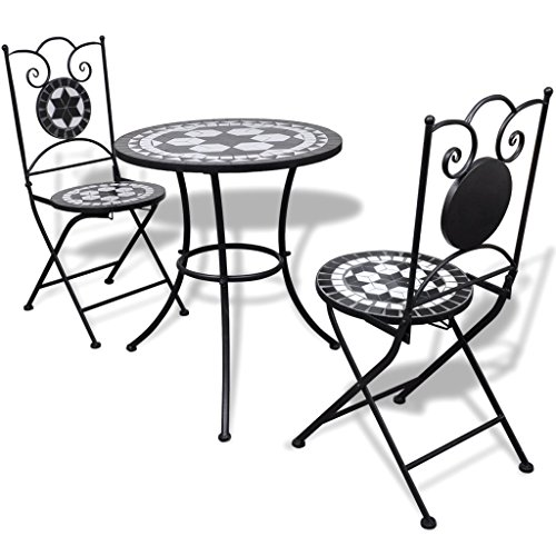 Anself Tischgruppe Tischgruppe Mosaiktisch Bistrotisch mit 2 Stühlen Schwarz und Weiß