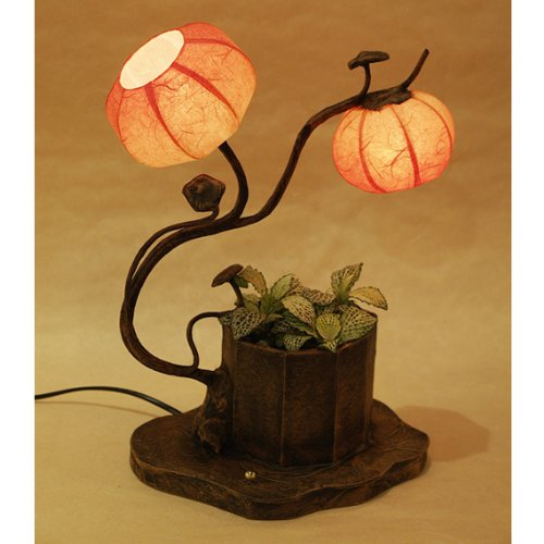 Auf Einem Floral Tisch Lampe (Mulberry Rice Paper Ball Handmade Floral Flower Design Art Shade Red Round Globe Two Lantern Brown Asian Oriental Classic Decorative Accent Chic Modern Bedside Table Lamp by Antique Alive Paper Lamp)