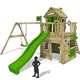 FATMOOSE Kletterturm CrazyCat Comfort XXL Spielturm Spielhaus für Kinder mit Schaukel, Rutsche und Kletterwand