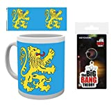 Set: Big Bang Theory, Flag Foto-Tasse Kaffeetasse (9x8 cm) Inklusive 1 Big Bang Theory Fan-Schlüsselanhänger (6x4 cm)