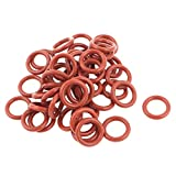 Sourcingmap® - 50 juntas de goma de 12 mm x 8 mm x 2 mm, juntas de sellado de aceite, color rojo