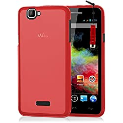VCOMP® Housse Etui Coque Silicone Gel pour Wiko Rainbow 4G + Mini Stylet - Rouge