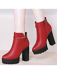 AJUNR-Zapatos De Mujer De Moda Martin High-Heeled Botas Gruesas Con Hembra High-Heeled Martin Botas Zapatos De Mujer Salvaje Húmedo Otoño Short-And-Cashmere Vino Rojo 36