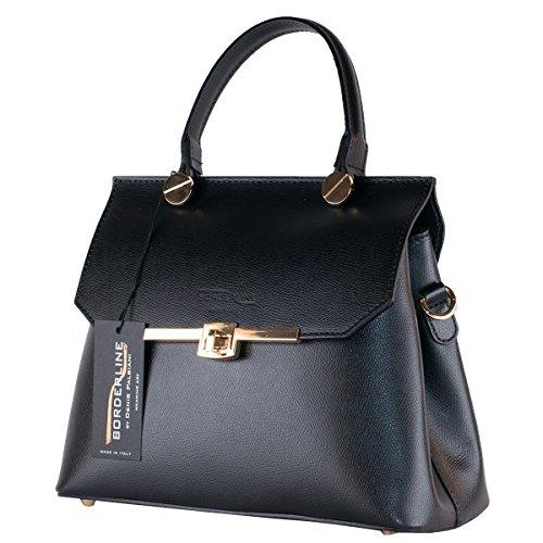 BORDERLINE - 100% Made in Italy - sac pour prendre une véritable main en cuir - ELEONORA