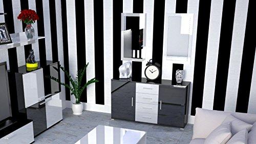 Labi möbel kR1 commode buffet cosmo 160 cm-couleur : noir ultra brillant-tiroir façades blanc brillant : noir brillant