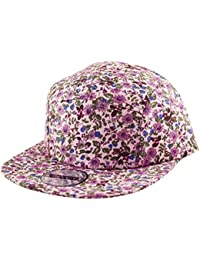 29f513b4475 Rebel City All Over Flower Print 5 Panel Snapback Flat Peak Cap Hat in Pink
