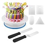 Zoegate Tortenplatte, Drehbar Tortenständer Kuchen Drehteller Cake Decorating Turntable mit 2 Stück Winkelpalette Set, 4 Stück Metal Icing Smoother, für Backen Gebäck, Zuckerguss