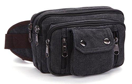 &ZHOU Segeltuchtasche, Multifunktions-Canvas-Taschen, lässige Flut großer Kapazität Taschen, Nähen tragbaren Paket Brieftasche Telefon Paket für Männer und Frauen Black