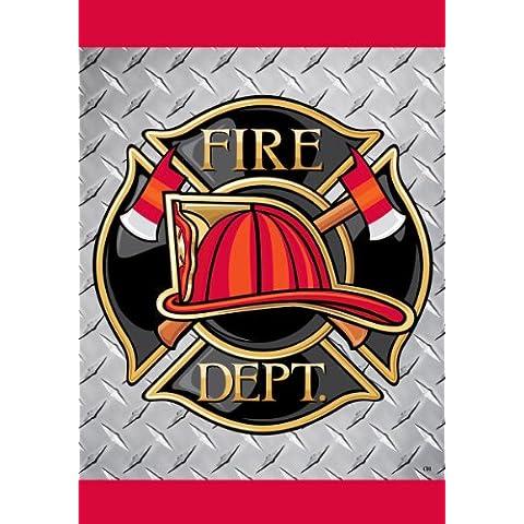 Fireman-cappello a proprio ideale laggiù nelle profondità del fuoco, doppio lato, motivo: pompiere da 12 x 18