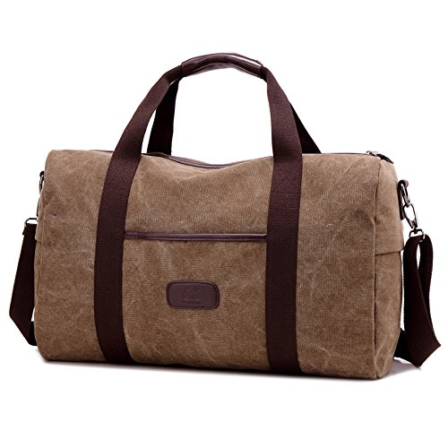 Weekender Bag Reisetasche TEAMEN Sporttasche Handtasche Canvas PU Leder Tasche Umhängetasche Schultertasche Henkeltasche 25L für Einkaufen Reisen Arbeit und Schule (braun)
