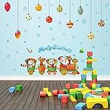 Cczxfcc Zug Weihnachtskugel Wandaufkleber Für Kinderzimmer Wohnzimmer Schlafzimmer Urlaub Party Dekoration Kunst Vinyl Aufkleber