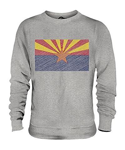 CandyMix Bundesstaat Arizona Kritzelte Flagge Unisex Herren Damen Sweatshirt, Größe Small, Farbe Grau Meliert