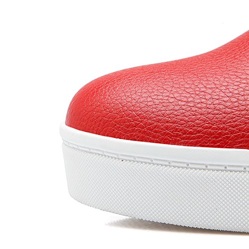 AgooLar Damen Rund Schließen Zehe Mittler Absatz Reißverschluss Pumps Schuhe Rot