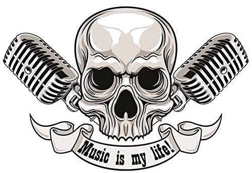 Music is My Life! Skull Aufkleber Sticker Totenkopf Schädel Bands Musik Mikrofon