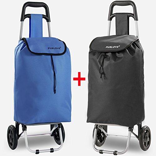 Purlove Leichter Einkaufstrolley, trendig, faltbar, klappbar schwarz / blau