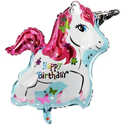 Preis am Stiel 2 x Folienballon ''Einhorn - Happy Birthday'' | Partydeko