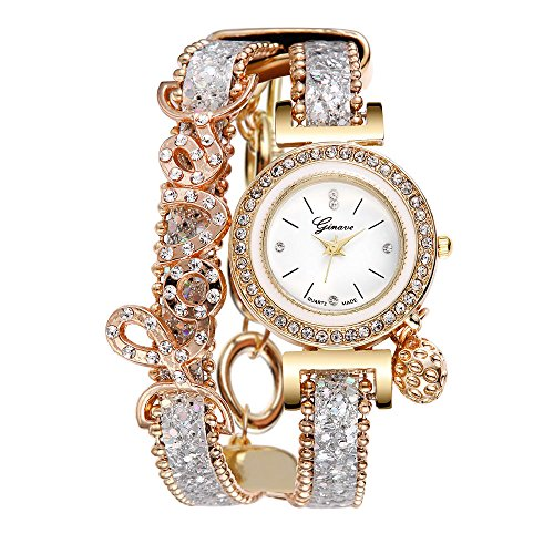 YEARNLY Damen Geflochten Leder Armbanduhr Maedchen Armreif Uhr mit Batterie Kleine Zifferblatt 20CM -