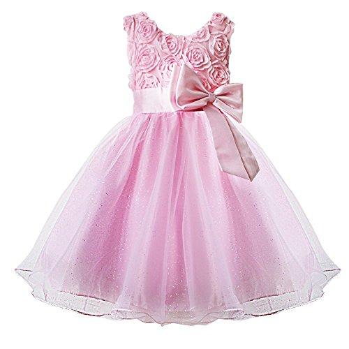 FEESHOW Kinder Mädchen Prinzessin Kleid Abendkleid Tüll Rock mit 3D Blumen und Schleife Gürtel für Blumenmädchen Hochzeit Taufe Rosa 116-122/6-7 Jahre (Rosa Flowergirl Kleider)