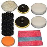 TecTake Set de pulido de 14 piezas con esponjas para máquina de pulidora pulir limpieza