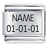Personalised Custom Made Etched Italian Charm - Name & Date - Daisy Charm by JSC - Fits Nomination Classic Size