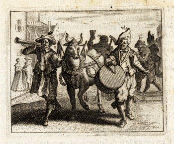 ThePrintsCollector Motif Antique-Quarto-jouant de la musique-Bull-Street-Jacob Chats Musiciens 1650