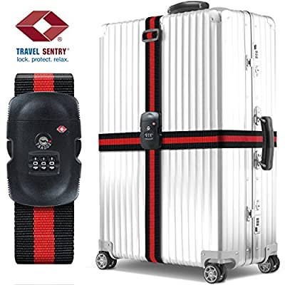 Luggage Straps Suitcase Belts - TSA Approved, BEZTM Adjustable Travel Luggage Strap Packing Belt Suitcase Bag Security Straps