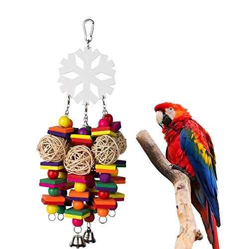 Aolvo Parrot Bereicherung Toys, umweltfreundlich Rainbow Parrot Spielzeug Holz Parrot Toys Bulk für Kauen herumtreiben Gefiederpflege Snowflake