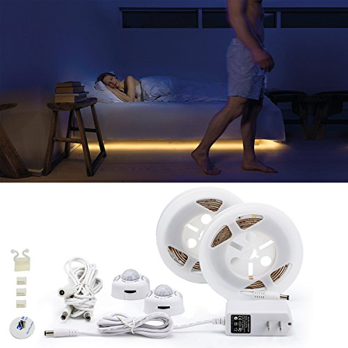 Bettrahmen Schritt (Autai LED Bettlicht mit Bewegungsmelder - Bett Lichtleiste Nachtlicht Streifen - Bewegungssensor Licht Strip - Baby Beleuchtung warmweiß - Bewegung aktiviert Bett Licht - Flexible LED Streifenlicht (2 × 1.5m LED Streifen))