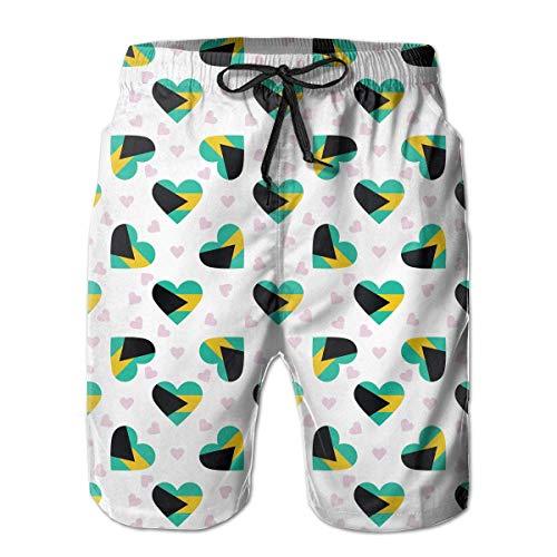 ZKHTO Bahamas Flag Heart Pattern Men's Beach Board Shorts Lightweight Bathing Suit,Shorts Size M -