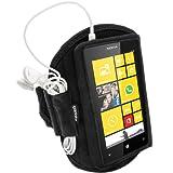 igadgitz Wasserabweisend Schwarz Sports Jogging Armband Laufen Fitness Oberarmtasche für Nokia Lumia 520 530