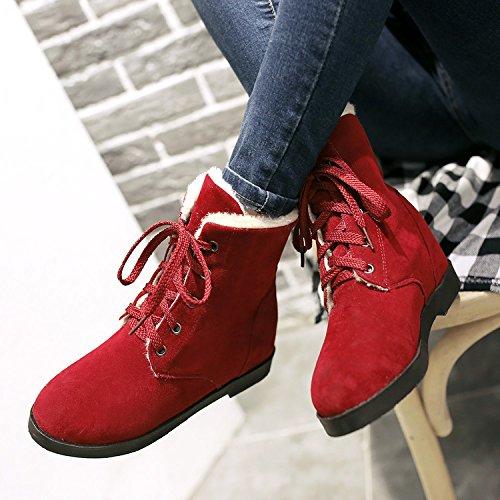 &ZHOU Bottes d'automne et d'hiver Bottes courtes pour femmes adultes Martin bottes bottes Chevalier A5-1 Red
