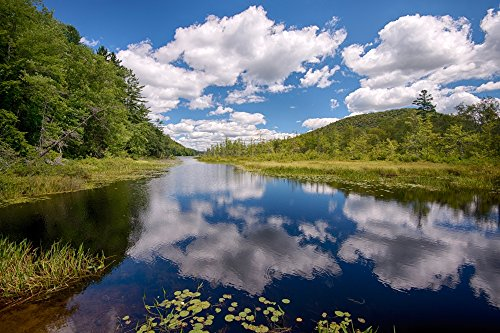 The Poster Corp Panoramic Images - Reflection of Clouds in Oxbow Lake Outlet Adirondack Park New York State USA Photo Print (68,58 x 22,86 cm)