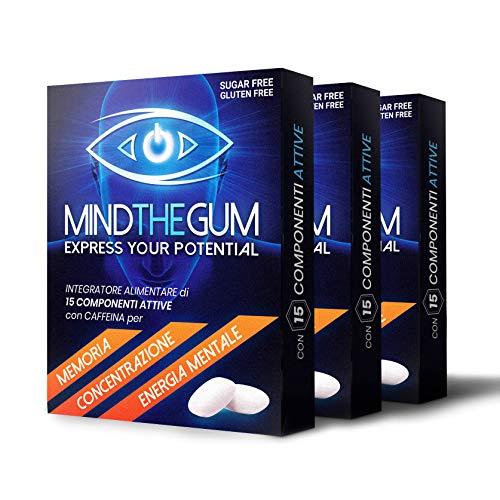 MINDTHEGUM Integratore per Concentrazione, Memoria e Stanchezza Mentale in Gomma con Caffeina, Teanina, Vitamine, Minerali - 3 Confezioni da 9 Gomme