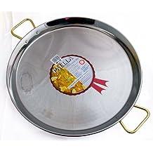La Ideal Paella sartén de acero inoxidable, plata, 90cm